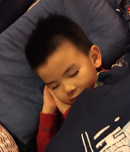 刘涛儿子曝光 枕着双手入睡十分可爱