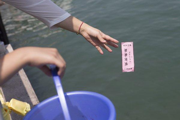 <p>  海南三亚的南山文化旅游区内,有一个明码标价的放生点,该放生点内除了放生小鱼,还能放生国家二级保护动物海龟。澎湃新闻调查发现,根据海龟的大小不同,放生价各不相同,最高价可达5万元,让景区游客惊呼消费不起。图为10月2日,一位游客在放生了五条鱼后将粉红色的功德券抛入水中。</p>